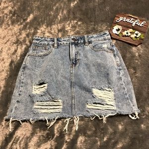 PacSun Acid Wash Denim Destroyed Mini Skirt